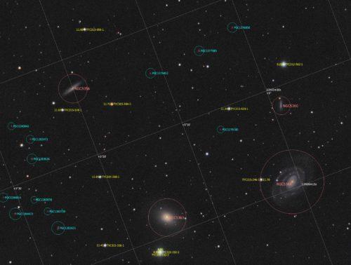 Група галактик у Діві з анотаціє.