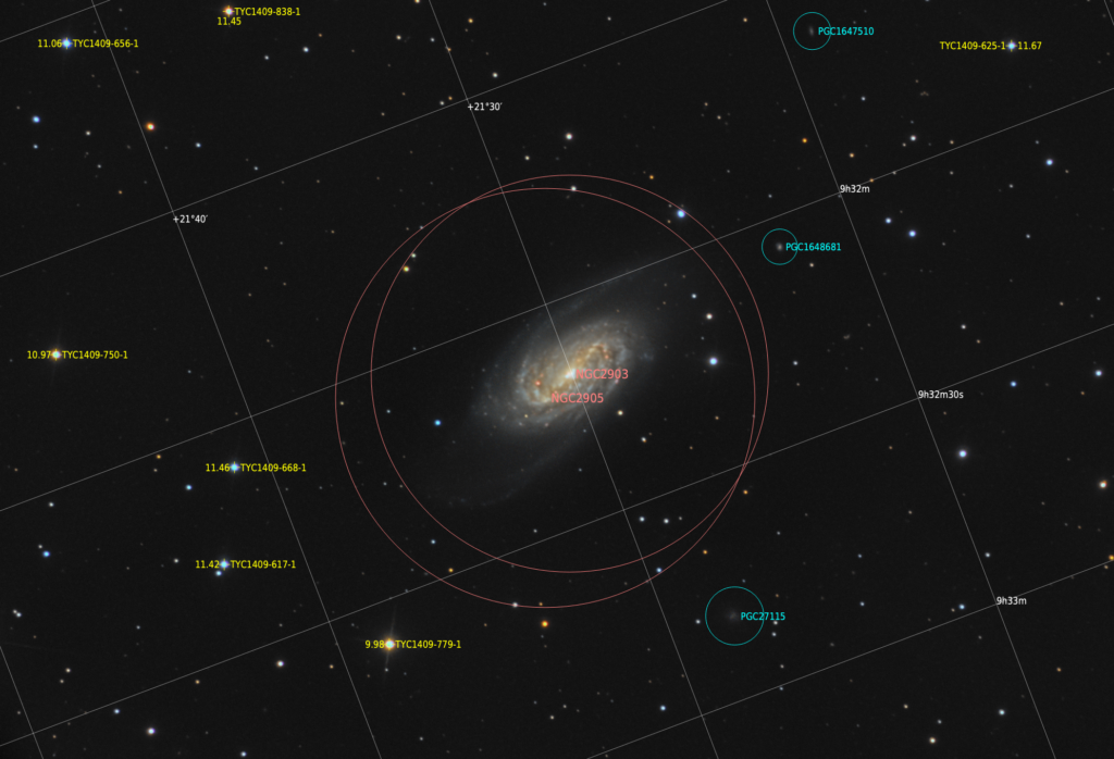 NGC 2903 з анотацією